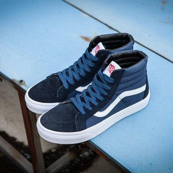 Vans Vault Og Sk-Hi Lx Navy Blue High Top Sneaker Flats Shoes Canvas Sport Shoes