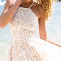 Angel In Heaven White Beige Puff Lace Spaghetti Strap Halter Skater Circle A Line Flare Mini Dress