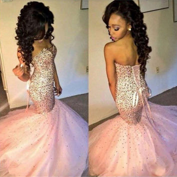 OPAL FERRIE -2017 Sexy Long Ball Gown Prom Dresses With Sequins Lace Up Low Back vestidos de festa longo Custom Formal Evening Party Gowns