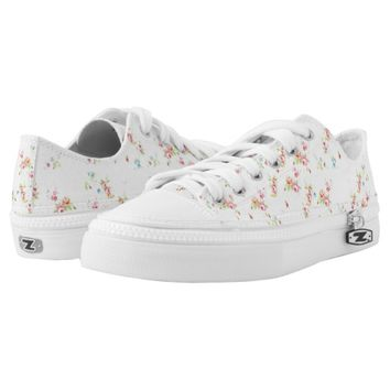 Vintage chic floral roses pink shabby rose flowers printed shoes