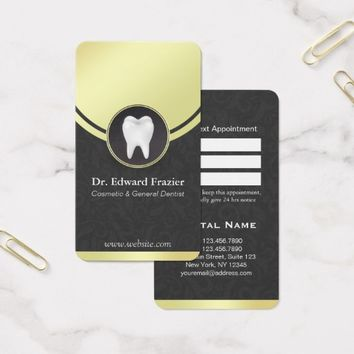 Cosmetic & General Dentist Appointment Black Gold Business Card