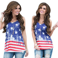 Sexy Women Sleeveless Tops American USA Flag Print Stripes Tank Top for Woman Blouse VesT-Shirt Women Clothing CT1688