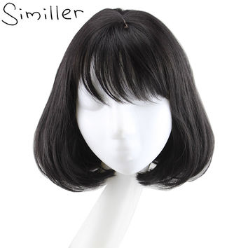 Women Bob Wig With Flat Bangs Black Brown Short Curly Hair
