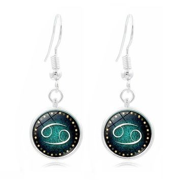 Pendant Earrings Galaxy Design12 Zodiac Horoscope Astrology Earrings
