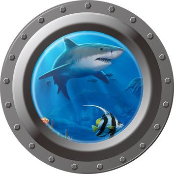 3D Underwater Shark Fish Wall Sticker For Kids Rooms