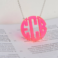 Block monogram necklace - 1.25  inch Personalized Monogram - Acrylic monogram necklace
