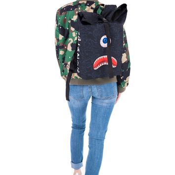 Monster Face Blue Camo Courier Backpack