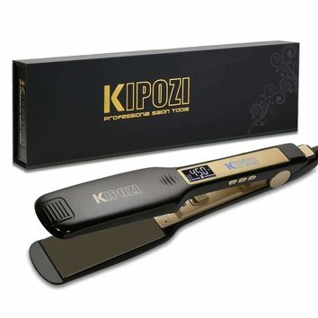 KIPOZI Professional Titanium Flat Iron Hair Straightener with Digital LCD Display ,Dual Voltage,Instant Heat Up(1.75 inch wide,black)