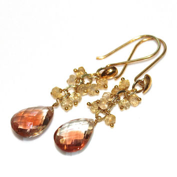 Huge Oregon Sunstone Earrings Oregon Sunstone Jewelry Peach Schiller Jewelry Unique Earrings Long Earrings Citrine Earrings Peach Earrings