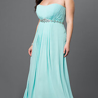 Strapless Floor Length Pleated Bodice and Lace Up Back Dress