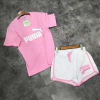 """PUMA"" Fashion Casual  Letter Floral Print Short Sleeve Sweater Set Two-Piece Sportswear"