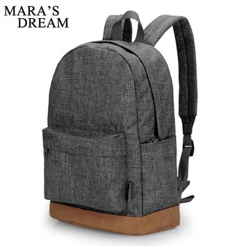 Mara's Dream 2017 Men Male Canvas Candy Color Big Capacity College School Student Backpack Casual Rucksacks Travel Bag Gray