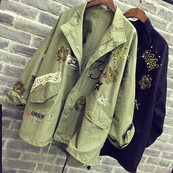 2016 Women Jacket Coat Fashion Design bomber jacket Embroidery Applique Rivets Oversize Women Coat Army Green Cotton Coat Black