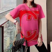 """""""Gucci"""" Woman's Leisure  Fashion Letter Drill Printing   Loose Large Size Short Sleeve Tops"""