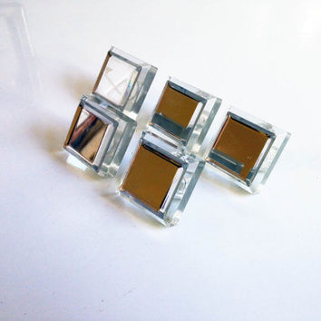 Art Deco Lucite and Mirror Drawer Pulls / Single Pull