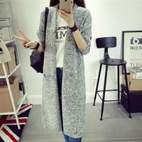 Winter Women's Fashion Korean Sweater Slim Plus Size Thicken Knit Tops Jacket [8664679367]