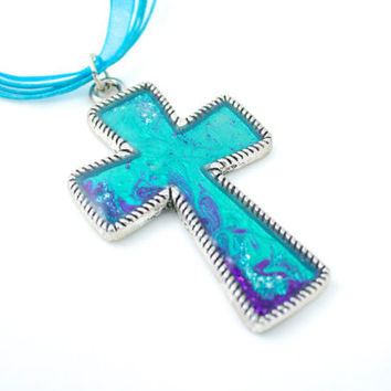Original Turquoise Cross One of a Kind with Purple Accents on Ribbon Cord