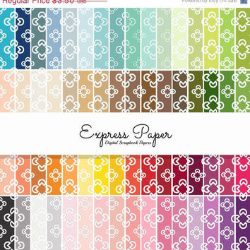 SALE 64 Rainbow Geometric Flower Pattern Digital Papers- 12x12 and 8.5x11 included- Digital Paper includes dark, bright, neutral and pastel