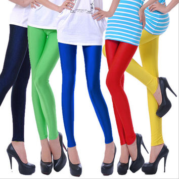 2015 Solid candy Neon Leggings Sport High Stretched Gym Fitness Plus Size Ballet Dancing Pants 24 Colors Drop Shipping