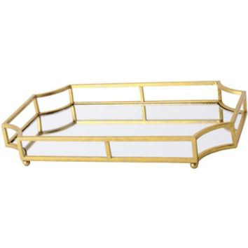 Gold Metal, Glass Mirrored 12-inch x 18-inch Decorative Tray - Free Shipping Today - Overstock.com - 18924418 - Mobile