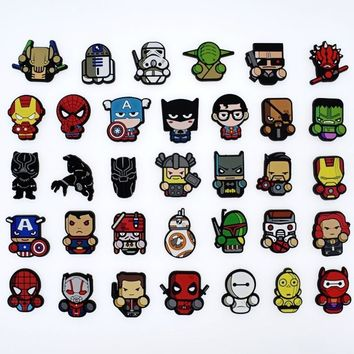 50Pcs Cartoon Anime The Avengers Heros Deadpool hulk bat man Silicone Flat back DIY Phone Case Badge Gadgets fashion Charms