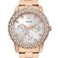 GUESS Women's U0335L3 Rose Gold-Tone Multi-Function Watch with Genuine Crystal Accented Case