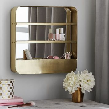 Brass Wall Mounted Beauty Organizer