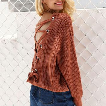 Backless Knitting Sweater