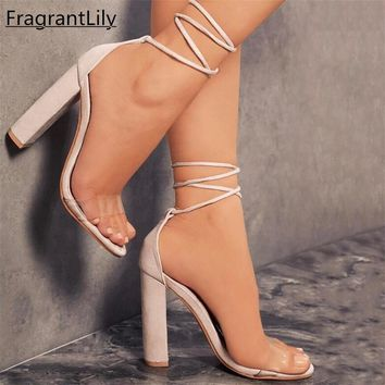 FragrantLily New Suede Heel Sandals Women Lace up Transparent Shoes Summer Ankle Strap High Heels Woman Thick Nude Shoes 34-43