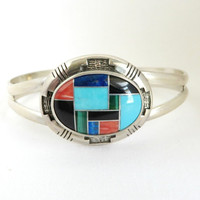 Vintage Sterling Silver Multi Gemstone Cuff, Turquoise, Coral, Lapis, Onyx, Malachite Bracelet