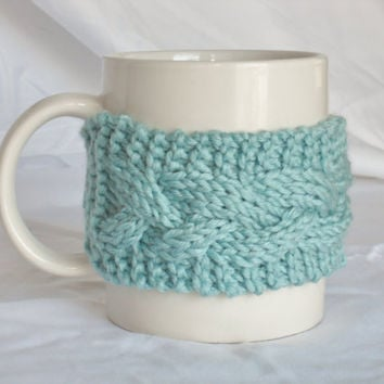 Aqua Coffee Cup Cozy, Mug Sleeve by MadebyMegShop