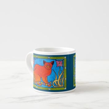 Indian Cat With Lilies Colorful Cat Design Espresso Cup