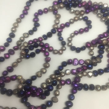 Vintage - Long string of faux baroque Tahitian Peacock colour pearl beads