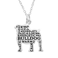 Silver-Plated ''Bulldog'' Pendant Necklace (Grey)