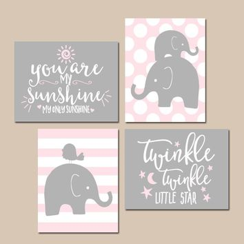Girl Elephant Nursery Wall Art, Pink Gray ELEPHANT Decor, You Are My Sunshine, Twinkle Little Star, Baby Girl Quotes Decor, Set of 4