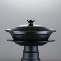 Black Enameled Claypot Rice Ceramic Casserole Cooking Pot Cantonese Pot Rice Cooking No Logo Cocotte Ceramique