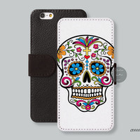 Flowers skull, Leather Wallet, iPhone 6 case -  leather iPhone 6 plus case, Wallet iPhone 5s case, iPhone 5c case Phone Cover - C00004