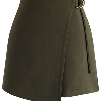 Preppy Chic Flap Skirt in Army Green