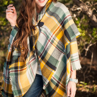 GRACE & LACE: Blanket Scarf/Toggle Poncho - Navy/Yellow