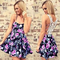 OURS Women's Floral Printed Backless Spaghetti Strap Short Dress Back Crochet