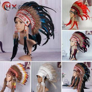 Indian Feather headdress 21inch high turquoise indian war bonnet chief heaaddress native american war bonnet costumes