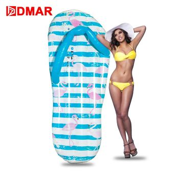 DMAR Inflatable Flamingo Flip-flop Giant Pool Float Inflatable Mattress Swimming Ring Circle Beach Sea Water Party Toys