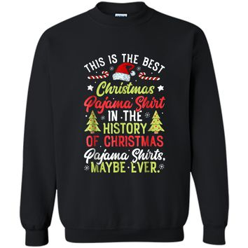 This is the Best Christmas Pajama Santa Boys Xmas Printed Crewneck Pullover Sweatshirt
