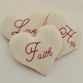 Faith Hope Love Heart Decorative Pillows - Bowl Fillers - Tucks - 1 Corinthians - Christian - Bible Verse - Wedding - Red Ticking