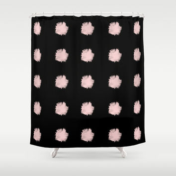 Polka dot pink and black Shower Curtain by cafelab