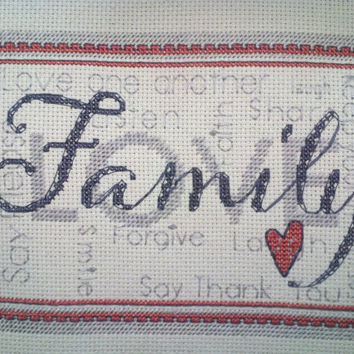 Completed Cross Stitch, Family Wall Hanging, Personalized, Housewarming, Wedding, Anniversary, Mother's Day, Father's Day, Christmas Gift