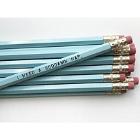 I Need a Goddamn Nap Pencil Set in Robin Blue