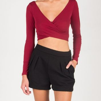 Front Draped Long Sleeve Crop Top - Burgundy