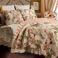 Twin size Quilt Set with Sham in Pink Floral Butterfly