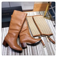 two use styles GUCCI Women Fashion Leather Hot Sale Casual High Top Boots Heels Shoes Winter Autumn